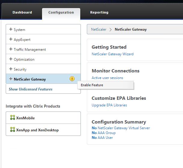 Netscaler Gateway aktivieren