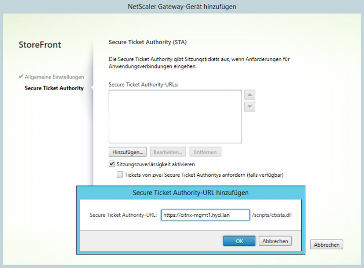 Security Ticket Authority-URL definieren