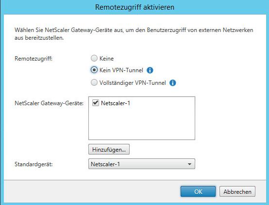 Das eingestellte Netscaler Gateway ist definiert