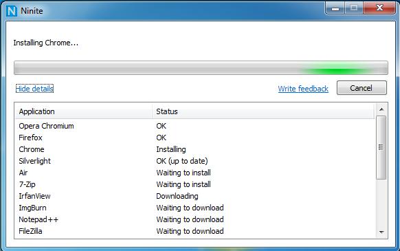 Ninite installiert mehrere Applikationen auf einmal